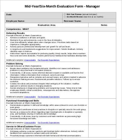 Employee Evaluation Forms Employee Performance Evaluation Form 13 - employee review