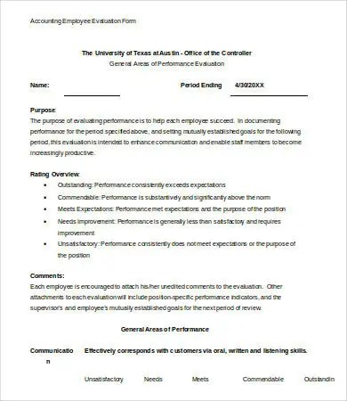 Employee Evaluation Form Template - 13+ Free Word, PDF Documents