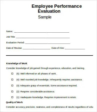Employee Evaluation Sample Forms  EnderRealtyparkCo