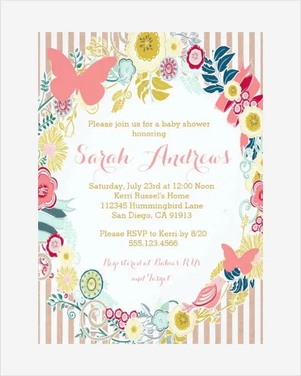 Butterfly Invitation Templates - 10+ Free PSD, Vector AI, EPS Format - baby shower invite templates