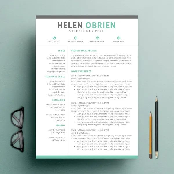 one page resume format template
