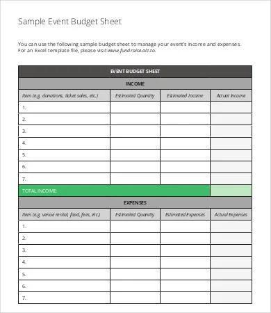 event budget sheet - Ozilalmanoof