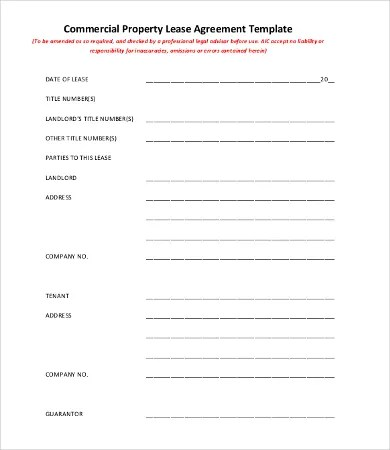 Commercial Lease Agreement Template - 9+Free Word, PDF Documents - rental agreement template