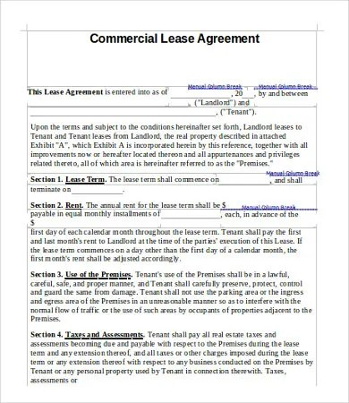 Commercial Lease Agreement Template -12+Free Word, PDF Documents - Commercial Property Lease Agreement Free Template