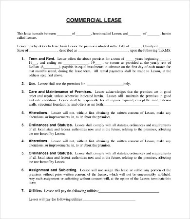 Commercial Lease Agreement Template - 9+Free Word, PDF Documents - commercial tenancy agreement template