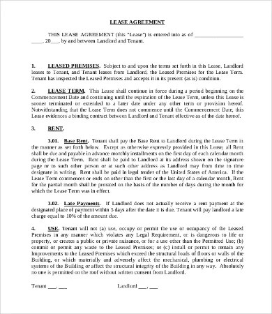 Commercial Lease Agreement Template -12+Free Word, PDF Documents