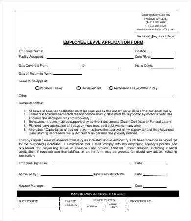 Employee Application Template - 9+ Free Word, PDF Documents Download - leave form templates
