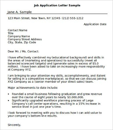 samples of job application - Onwebioinnovate - Job Application