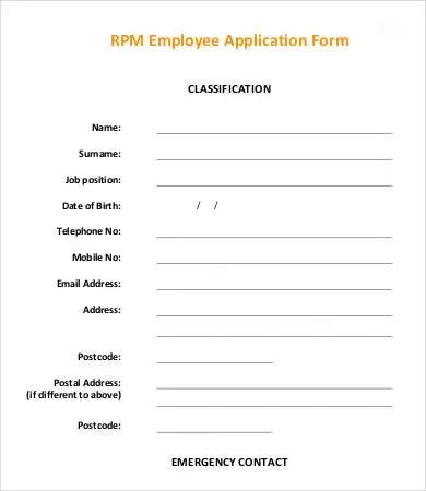Employee Application Template - 9+ Free Word, PDF Documents Download