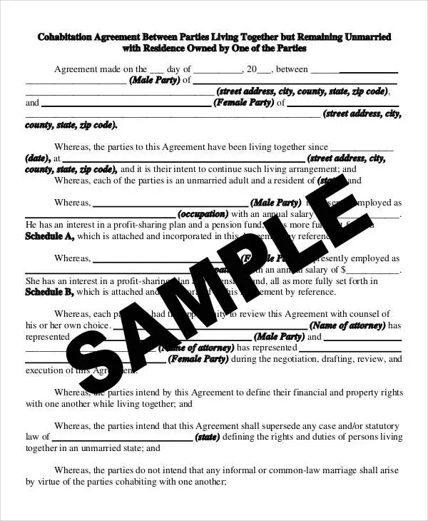 Cohabitation Agreement Template - 7+ Free Sample, Example, Format - cohabitation agreement template