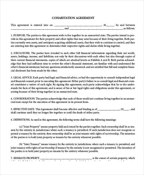 Cohabitation Agreement Template - 7+ Free Sample, Example, Format