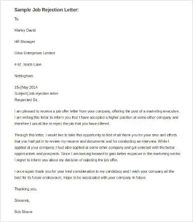 Best Rejection Letter - 9+ Free Word, PDF Documents Download Free