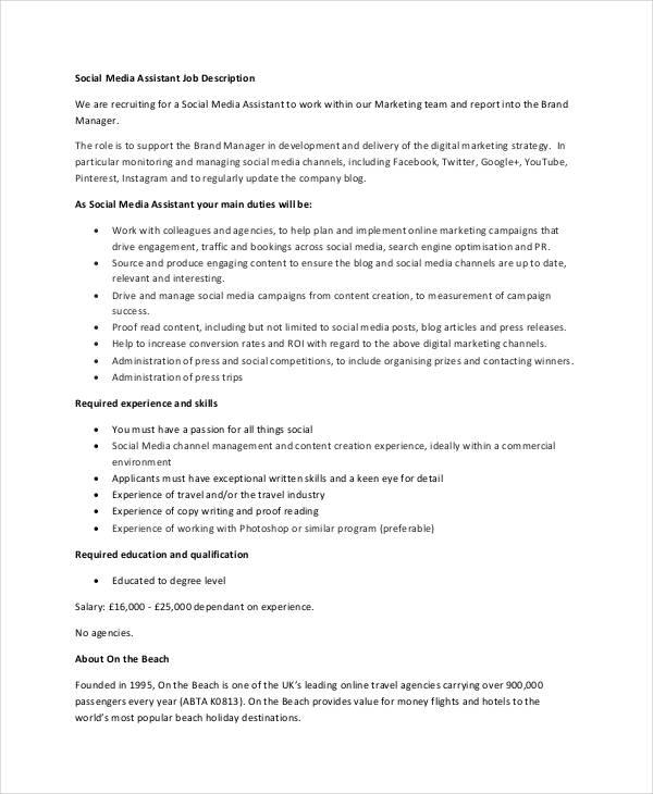 10+ Social Media Job Description Templates - PDF, DOC Free