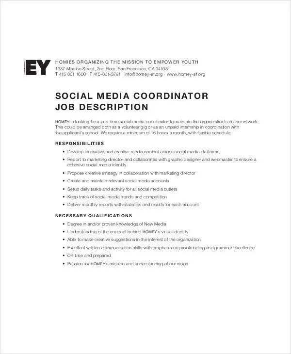 10+ Social Media Job Description Templates - PDF, DOC Free - social media marketing job description