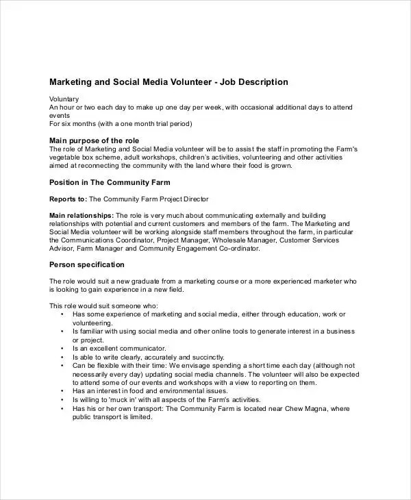 Social Media Marketing Job Description Env 1198748 Resume Cloud