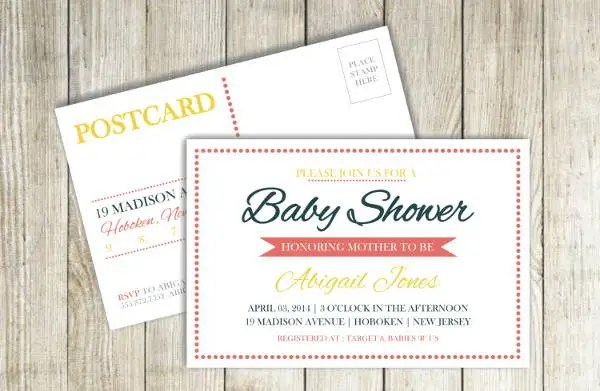 7+ Baby Shower Postcards - Free Printable PSD , AI Format Download