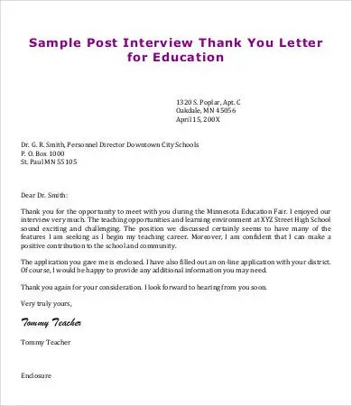 Teacher Thank You Letter - 8+ Free Sample, Example, Format Free - post interview thank you letters