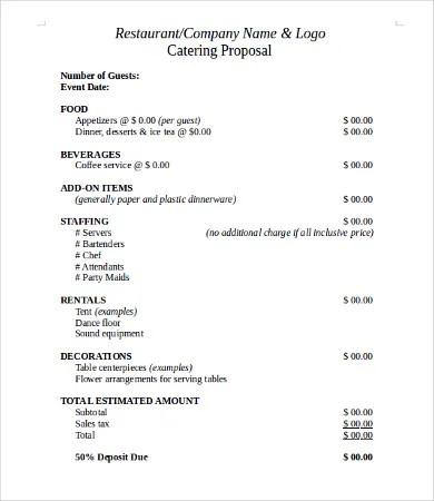 Request For Proposal Template - 10+Free Word, PDF Documents - sample catering proposal template