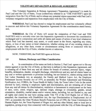 Simple Employment Separation Agreement Template - 7+ Free PDF - employment separation agreement