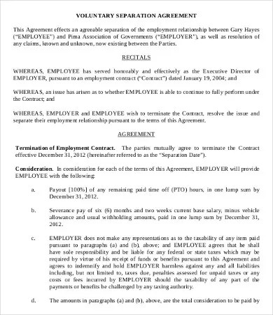 Simple Employment Separation Agreement Template - 8+ Free PDF