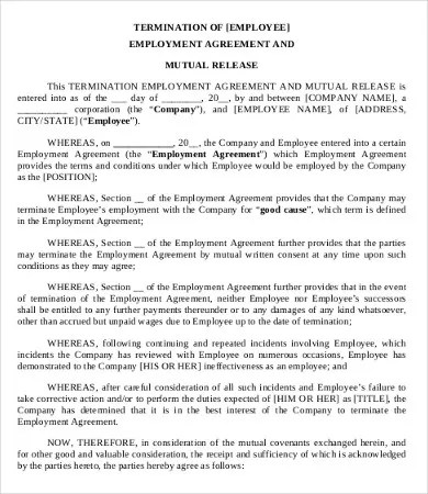 Simple Employment Separation Agreement Template - 9+ Free PDF
