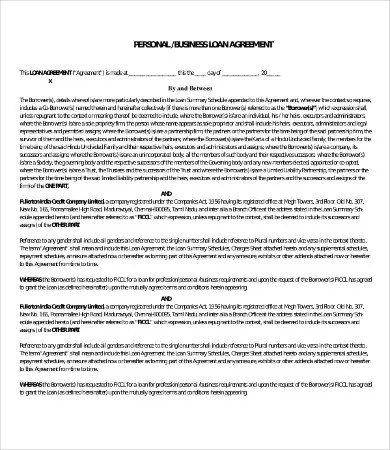 Personal Loan Agreement Template - 13+ Free Word, PDF Documents