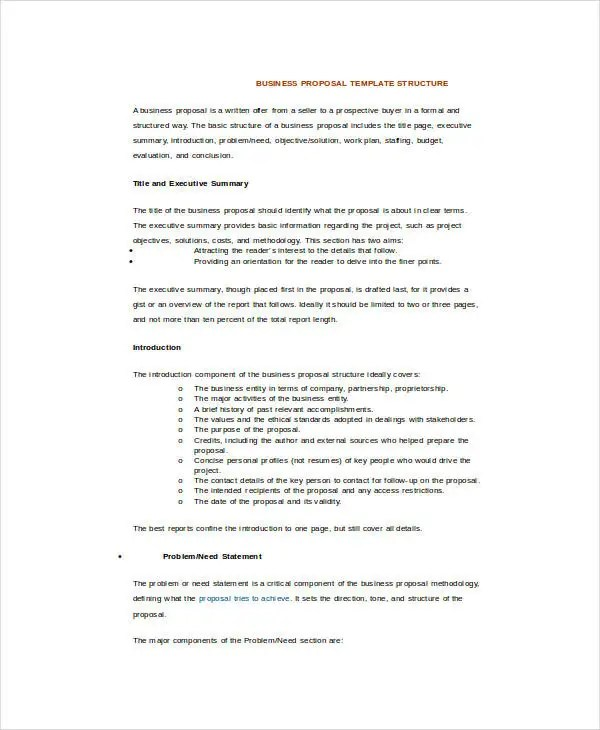 Business Proposal Template Word - 16+ Free Sample, Example, Format - sample business proposals