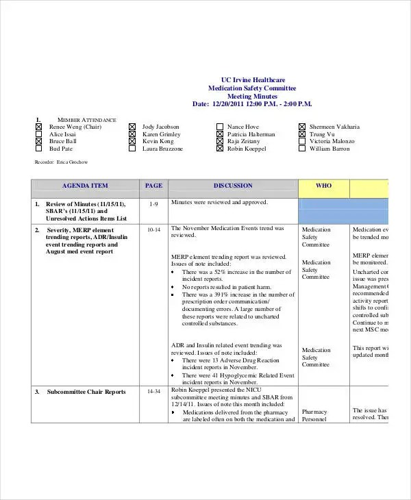 Doc#555717 Example of Meeting Minutes Template u2013 Meeting Minutes - meeting notes template