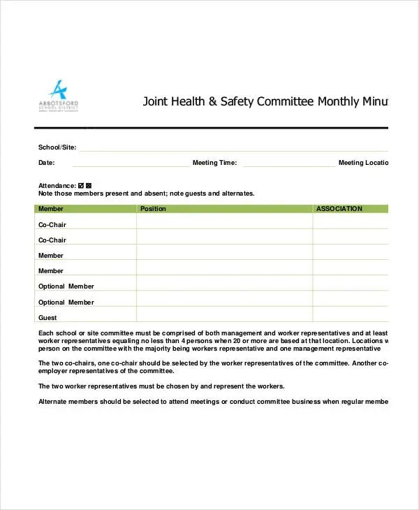 Safety Meeting Minutes Template 12 Free Sample Example