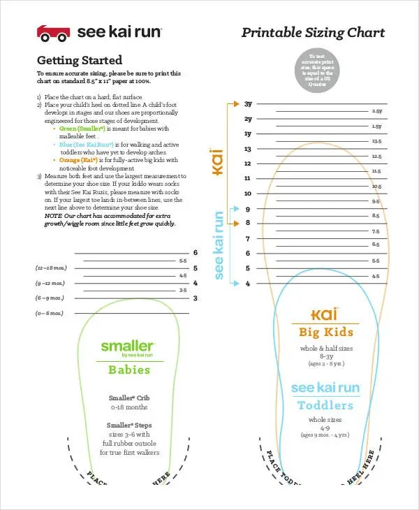 Printable Shoe Size Chart - 9+ Free PDF Documents Download Free