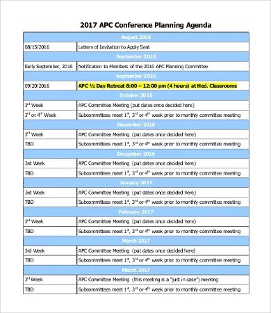 Planning Agenda Templates - 9+ Free Word, Excel, PDF Documents