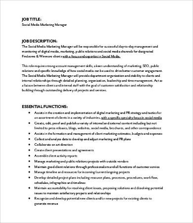 10+ Marketing Job Description Templates - PDF, DOC Free  Premium