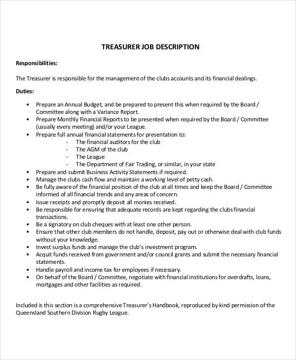 10+ Treasurer Job Description Templates in PDF Free  Premium - treasurer job description