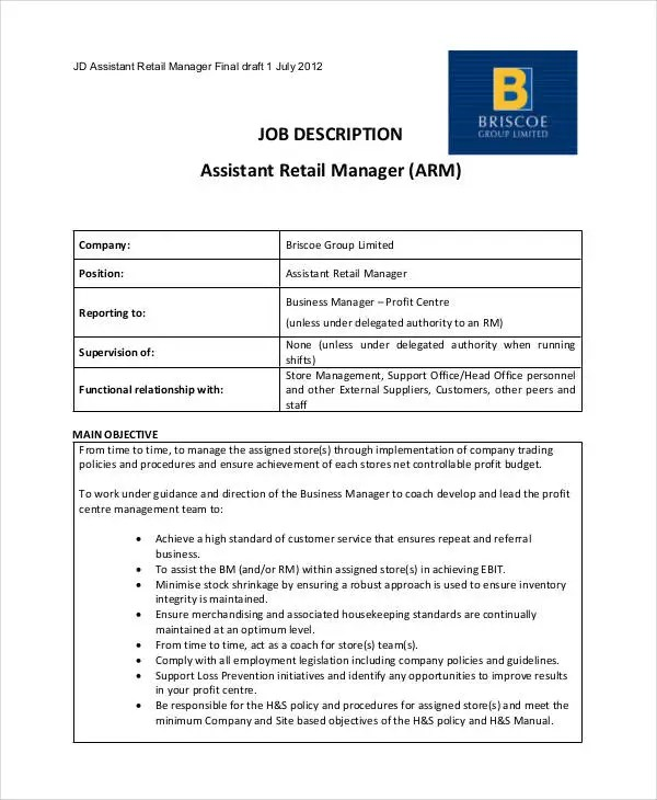 Retail Job Description - 9+ Free Word, Excel, PDF Format Download - business manager job description