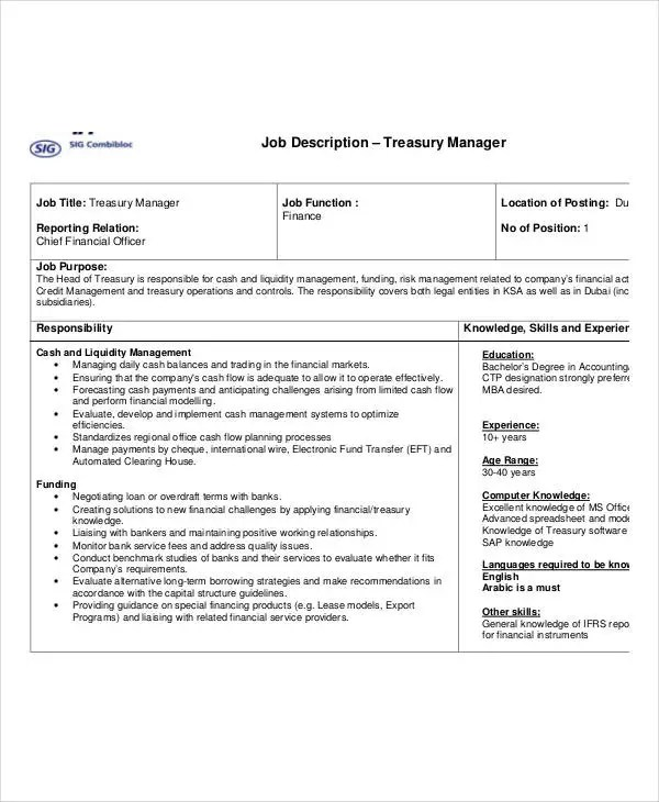 10+ Treasurer Job Description Templates in PDF Free  Premium - treasurer job description