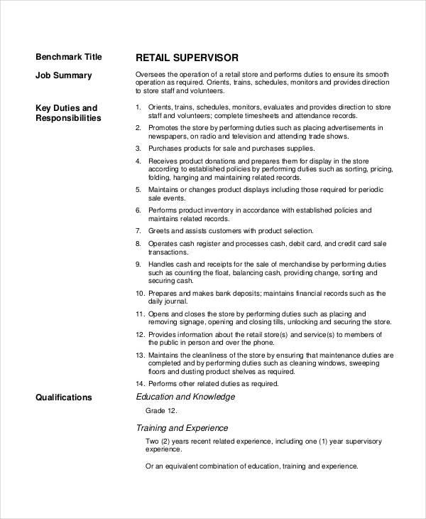retail jobs description - Goalgoodwinmetals