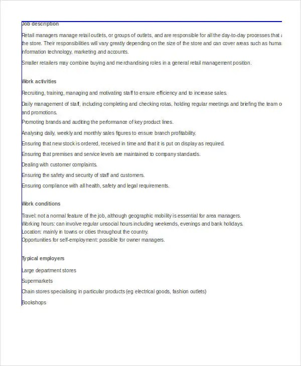 10+ Retail Job Description Templates - PDF, DOC Free  Premium - retail manager job description