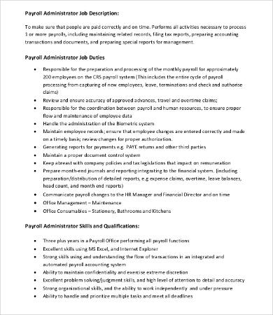 Payroll Job Description Job Performance Evaluation Payroll - accounting clerk job description