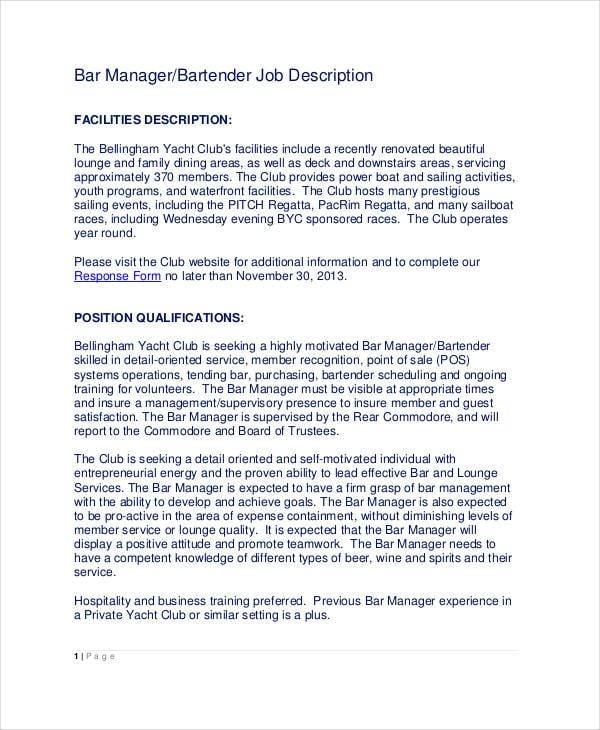 10+ Bartender Job Description Templates - PDF, DOC Free  Premium - bar manager job description