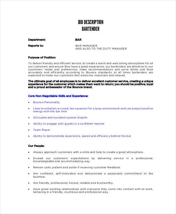 11+ Bartender Job Description Templates - PDF, DOCS Free  Premium
