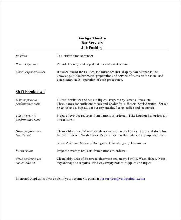 10+ Bartender Job Description Templates - PDF, DOC Free  Premium - Stock Job Description