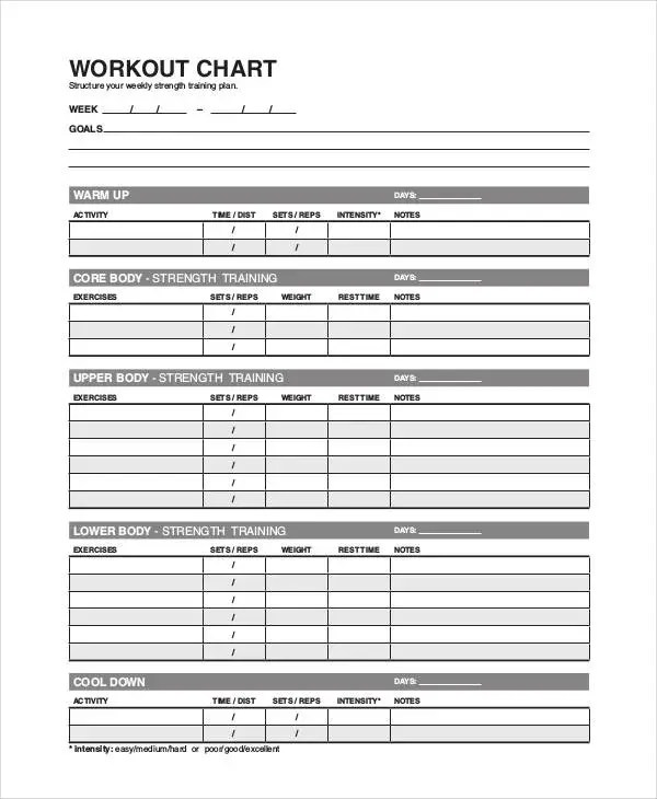 Workout Chart Templates - 8+ Free Word, Excel, PDF Documents - workout char template