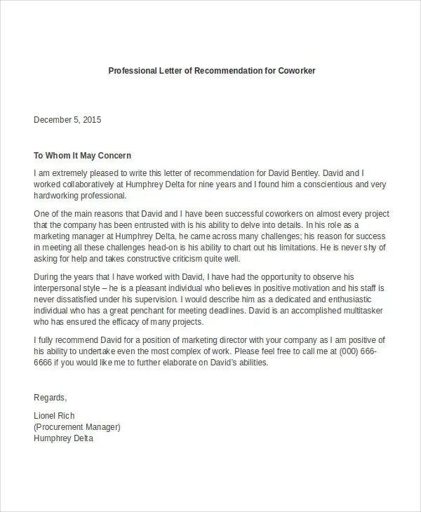 12+ Professional Letter Of Recommendation - Free PDF, Word Format