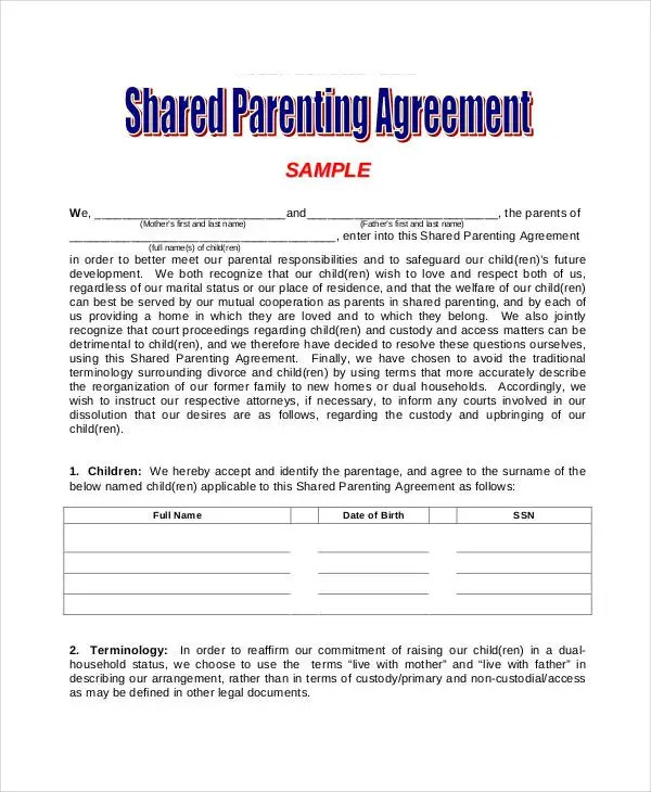 Parenting Agreement Templates - 8+ Free PDF Documents Download