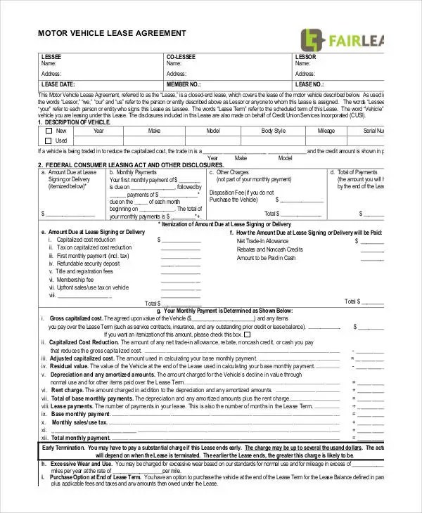 vehicle lease agreement sample - Boatjeremyeaton - commercial truck lease agreement