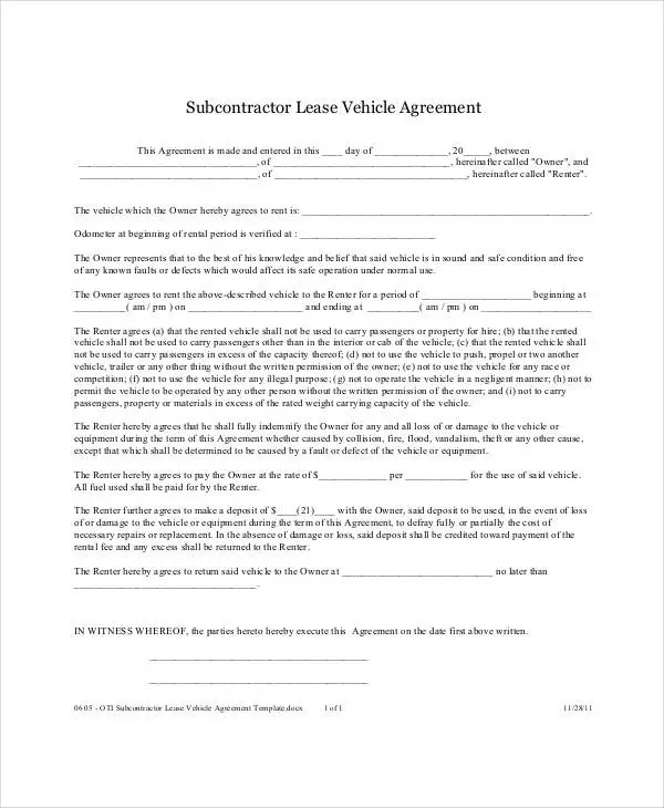 sample vehicle lease agreement template hitecauto - subcontractor agreement template