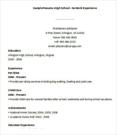 10+ Sample High School Resume Templates - PDF, DOC Free  Premium - sample high school resume with no work experience