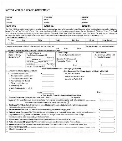 Lease Agreement Form - 10+ Free Word, PDF Documents Download Free - vehicle lease agreement templete