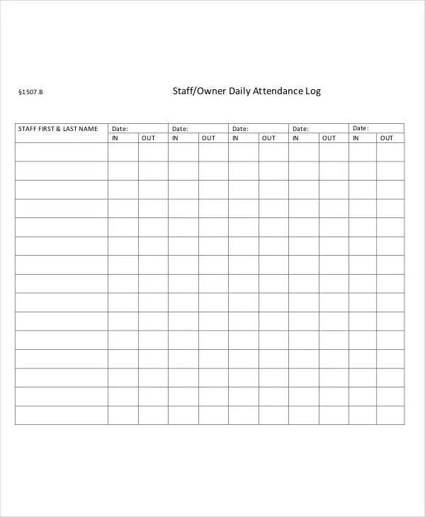 Attendance Log Templates - 9+ Free PDF Documents Download Free