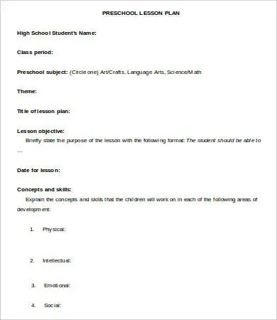 Lesson Plan Template - 10+ Free Sample, Example, Format Free